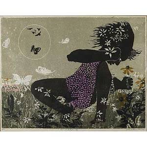 Walter henry williams american 19201988 linoleum cut print in colors girl with butterflies 2 1964 framed signed titled dated and numbered 20 x 26 14
