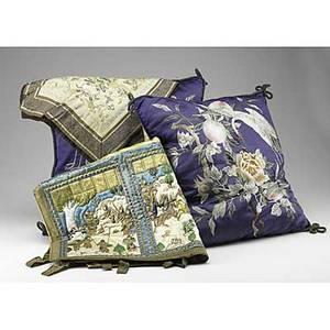 Asian textile grouping ten pieces include two pillows dresser scarves etc 19th20th c pillows 4 x 16 sq