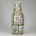 Chinese porcelain palace vase rose medallion decoration with alternating panels of birds and genre scenes 19th c 24
