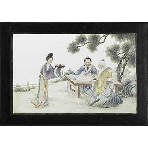Chinese porcelain plaque depicting an artist in a landscape setting 19th c 10 x 15