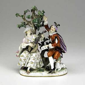 Meissen large porcelain figural group of musicians under a tree with sheep 19th c crossed swords mark 8 x 5 34 x 10 12