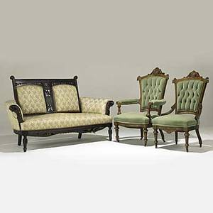 Victorian furniture armchair and matching sidechair with walnut frames together with ebonized eastlake settee 19th c settee 38 12 x 66 x 27
