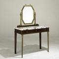 Louis xvi style dressing table walnut with marble top brass front legs and brass mirror 20th c 58 12 x 40 12 x 19 12