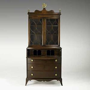 Federal style secretary bookcase mahogany with butlers desk interior ca 1940 83 x 36 x 16 12