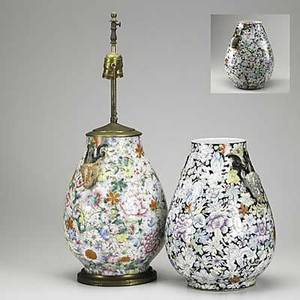 Chinese porcelain jars three all with floral decoration and deer head handles 19th20th c one mounted as a lamp 14