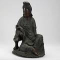 Carved wood guan yin southeast asia 19th c possibly chinese 21 14 x 14 x 11