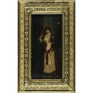 Pair of 19th c neapolitan portraits oil on canvas portraits depicting a girl with tambourine and a welldressed lady both framed signed e jolli each 20 x 10
