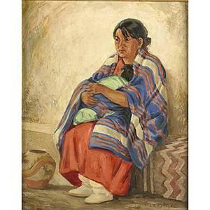 Ila mae mcafee american 18971995 oil on masonite of a native american woman framed signed 20 x 16