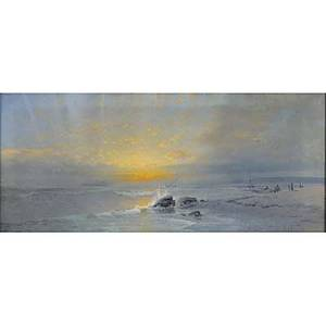 Karl eugene felix american 18371906 oil on canvas seascape at sunset framed signed lower right 15 x 32