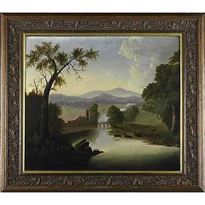 American pastoral landscape oil on canvas of a pastoral vista in the hudson river style framed late 19thearly 20th c 26 x 28
