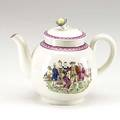 English greatbatch creamware teapot with prodigal son transfer decoration 18th c 5 34