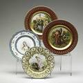 Porcelain plate grouping four items 20th c two by sevres depicting women and two with transfer beehive decoration and gilding largest 10 58