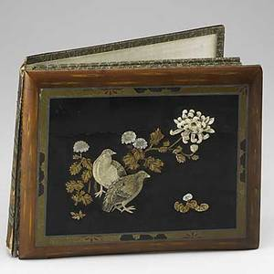 Japanese postcard album lacquer and hardstone cover with handpainted interior early 20th c 14 x 11 x 3