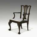 English chippendale open armchair mahogany frame with slip seat ca 17601780 38 x 26 x 25