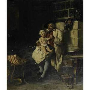 August muller german 18361885 oil on canvas genre scene with child and grandfather in period interior framed signed august muller munchen 35 x 30