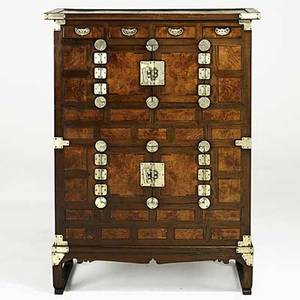 Korean chest burled panels with silvered hardware 19th c 51 x 38 12 x 17 12