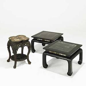 Chinese tables pair of ebonized end tables with marble inserts together with teak tabouret with marble and mother of pearl top 20th c largest 14 x 21 12 sq
