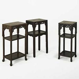 Three chinese plant stands teak with marble inserts 19th c tallest 32 x 16 12 x 12 12