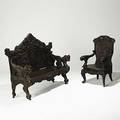 Asian carved settee teak with griffin armrests dragon design crest rail and bamboo and bird decorated panels ca 1900 together with japanese softwood armchair settee 51 x 53 x 23
