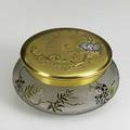 French art glass acidetched box gilt cover with silver inlaid medallion late 19th c possibly galle 6 12 x 3