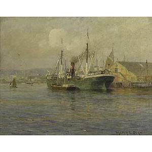 Walter lofthouse dean american 18541912 oil on canvas of a ship in the harbor framed signed 14 x 18