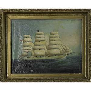19th c nautical painting oil on canvas of the threemast schooner queen victoria framed 17 34 x 23