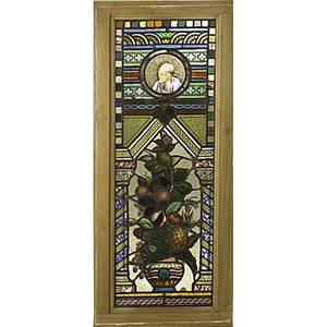 Leaded glass panel with basket of fruit and figure early 20th c 48 12 x 20 12