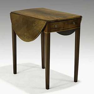 Enlgish pembroke dropleaf table mahogany with one drawer and line inlay ca 1800 28 x 29 12 x 17