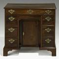 English double pedestal kneehole desk mahogany with bracket feet ca 1760 29 12 x 30 12 x 18