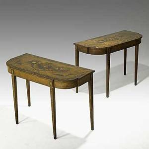 Pair of english adams style console tables polychrome basket of flower decoration early 19th c 31 x 44 x 19 12