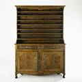 Country french stepback cupboard fruitwood with burled panels twopiece early 19th c 84 x 60 x 25
