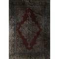 Sarouk oriental rug floral design with red center medallion ca 1940 99 x 73