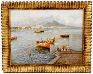 Bay of Naples Oil on Canvas Signed Caso