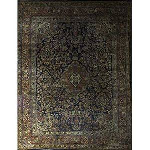Sarouk oriental rug all over floral design on blue ground with central medallion mid 20th c 141 x 107