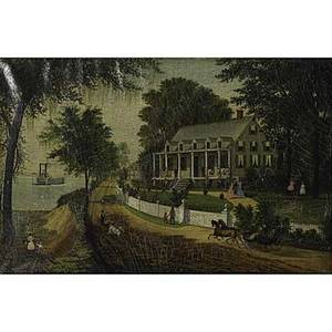 19th c american folk art oil on canvas copy of currier  ives home on the mississippi framed 16 x 24 provenance original letter from an early owner regarding history of the unknown artist