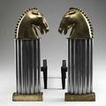 Pair of art deco andirons brass horse heads over chrome columns 20th c 16 12
