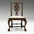 New england chippendale side chair mahogany frame with stretcher base and slip seat ca 17601780 37 x 23 x 21 12