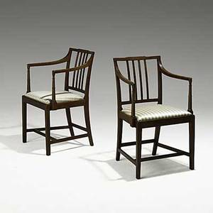 Pair of american federal open armchairs mahogany frames ca 1810 34 x 22 x 20 12