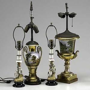 Continental porcelain grouping two old paris urns and a pair of owl figural candlesticks all mounted as lamps 19th c tallest 13 34