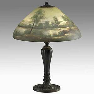 Jefferson reversepainted table lamp the shade with a landscape scene early 20th c shade signed 1898 wk base signed jefferson 23 12 x 18 dia