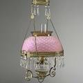 Victorian pulldown chandelier complete with pink hobnail shade late 19th c electrified shade 13 78