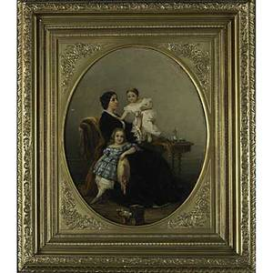 Pair of 19th c american genre portraits oil on canvas depictions of the gilsey family the father at his desk and the mother and children at home framed both 21 x 17 oval provenance the gil