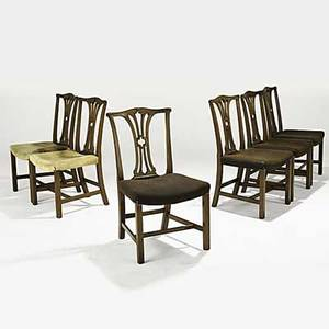 American chippendale side chairs set of six with mahogany frames and upholstered seats 18th19th c 37 x 22 x 24