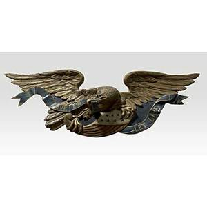 Carved wood eagle bellamy style live and let live with polychrome decoration 20th c 72 x 26 x 9 12