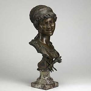 Emile guillemin 18411907 bronze bust of a young woman on marble plinth 19th20th c 22 14