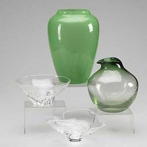 Steuben four glass pieces 20th c two clear glass bowls green vase with bubbles and tall jade vase tallest 11