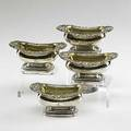 George iii silver salts set of four sterling salts with foliate rims and armorial crests 1816 by rebecca emes and edward barnard london 133 ot 4 14