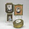 Miniature portraits four likely on paper depicting women in period costumes 19th20th c two in dresser boxes two in easel frames largest box 5 14 x 6 14 x 2 12