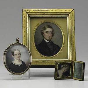 Three miniature paintings two women and one man probably all on ivory 19th c largest 3 x 3 12