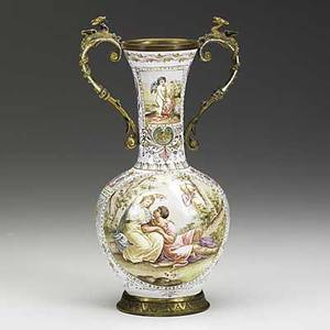 Viennese enamel double handle vase gilt metal decorated with classical scenes 6 12